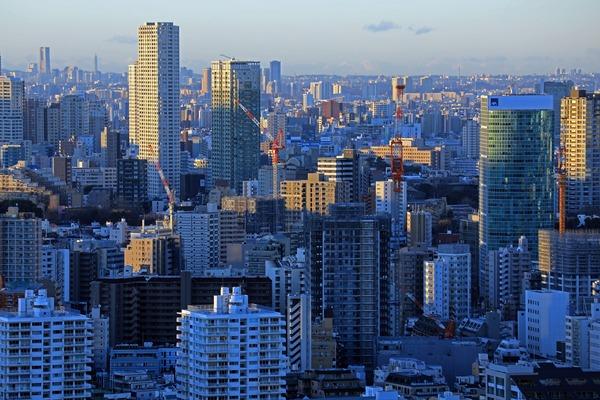 東京タワーから見た白金高輪駅方面