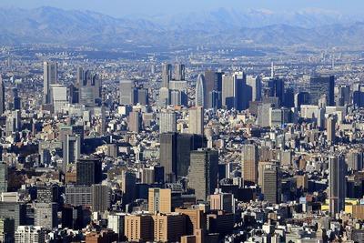 東京スカイツリーから見た飯田橋サクラパークと新宿方面