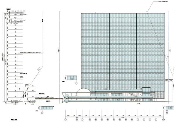 横濱ゲートタワー 都市景観形成行為のお知らせ 立面図(南側)