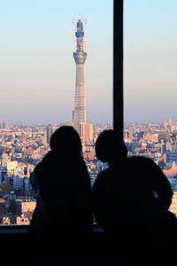 文京シビックセンターから東京スカイツリーを見る人