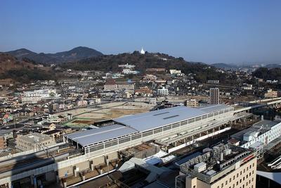 東横イン熊本駅前から見た熊本駅