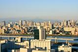 冠雪した富士山と東京超高層ビル群