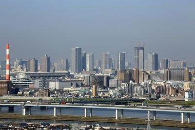 船堀駅前トキタワーから見た東雲のタワーマンション群