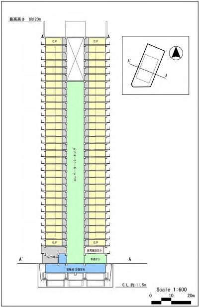 (仮称)芝浦二丁目計画 断面図