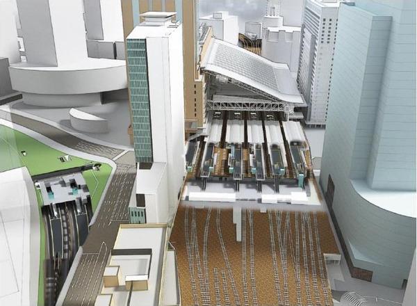 大阪駅西高架エリア開発 周辺鳥瞰図