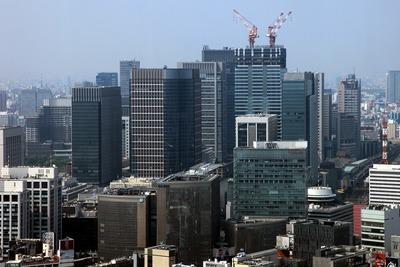 カレッタ汐留から見た東京駅方面の超高層ビル群