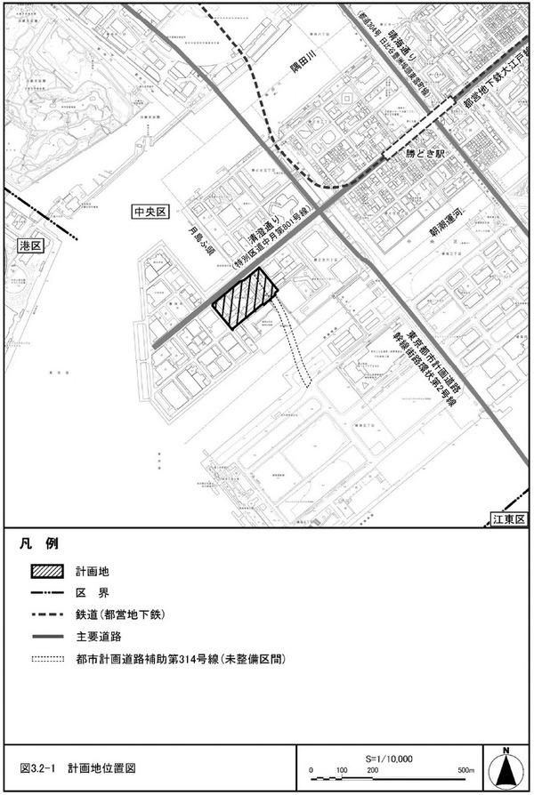豊海地区第一種市街地再開発事業 計画地位置図