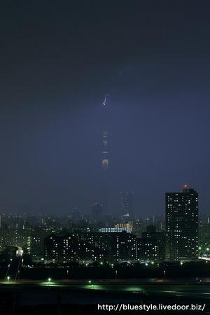 東京スカイツリーに落雷