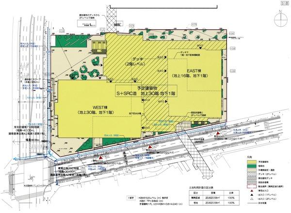 (仮称)みなとみらい21中央地区53街区開発事業 土地利用計画図