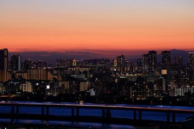 レインボーブリッジ方面の夕景