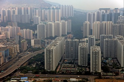 空撮 香港の超高層マンション群