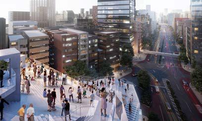 (仮称)渋谷二丁目西地区第一種市街地再開発事業 上空広場から見た青山通りへの眺望