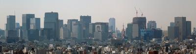 アサヒビールタワーから見た東京駅周辺の超高層ビル群