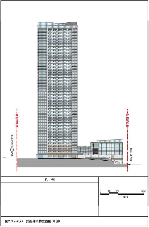 (仮称)赤坂七丁目2番地区再開発事業 計画建物立面図(南側)