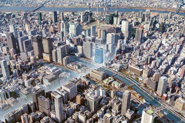 (仮称)大阪三菱ビル建替え計画 鳥瞰イメージ