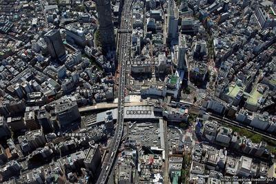 渋谷駅地区の再開発地の空撮