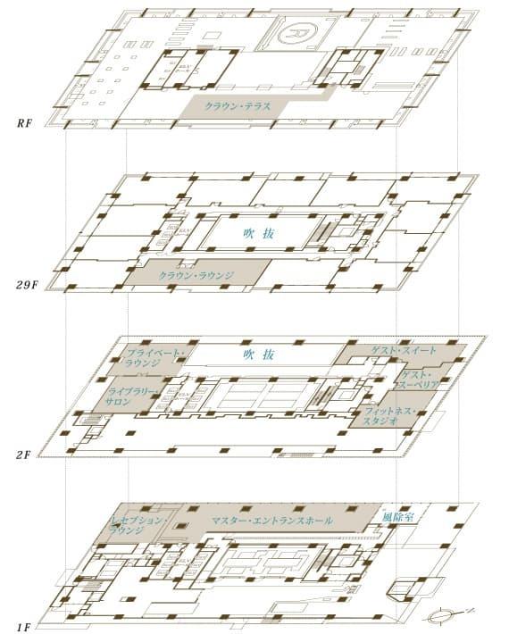 ブランズタワー芝浦 共用部各階平面図
