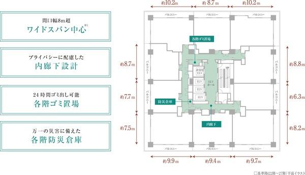 ドレッセタワー新綱島 基準階(22階〜27階)平面イラスト
