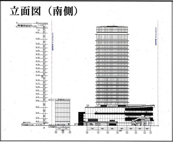 ウェスティンホテル横浜 都市景観形成行為のお知らせ 立面図(南側)