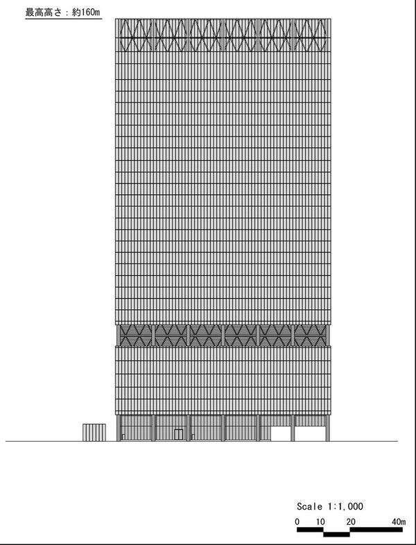 (仮称)赤坂二丁目計画 北側立面図