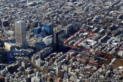 学校法人日本医科大学武蔵小杉キャンパス再開発計画C地区の空撮