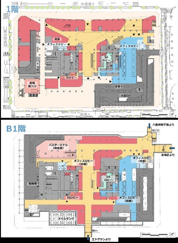 八重洲二丁目中地区第一種市街地再開発事業 1階/地下1階平面図