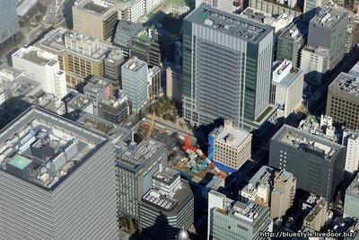 京橋二丁目西地区第一種市街地再開発事業の空撮