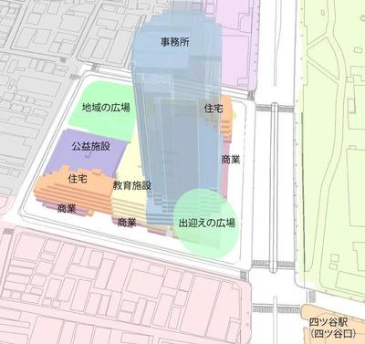 四谷駅前再開発事業 配棟イメージ図