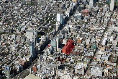 (仮称)南青山第一マンションズ建替え計画の計画地の空撮