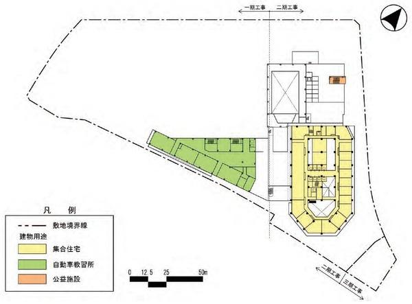 東金町一丁目西地区市街地再開発事業 建物平面図(地上5階)