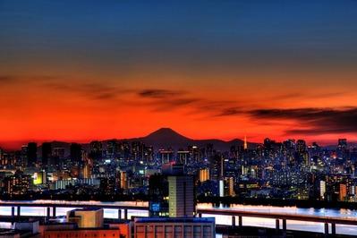 東京 夕景 富士山