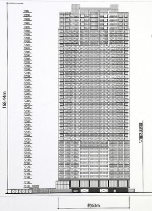 ブランズタワー梅田 North 南立面図