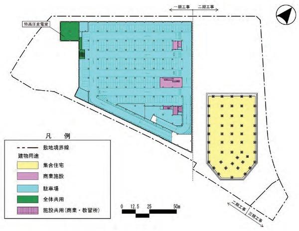 東金町一丁目西地区市街地再開発事業 建物平面図(地下2階)