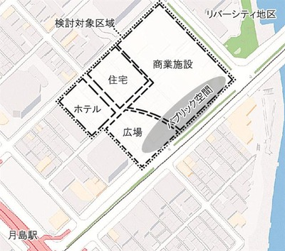 佃2丁目地区の配置図