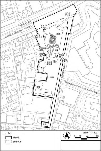 西麻布三丁目北東地区市街地再開発事業 平面図