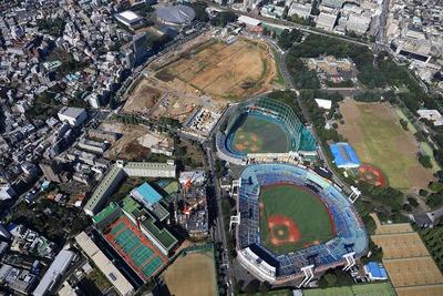 日本青年館・日本スポーツ振興センター本部棟周辺の空撮