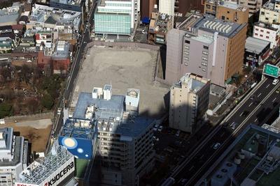 六本木ヒルズから見た(仮称)六本木7丁目新築工事