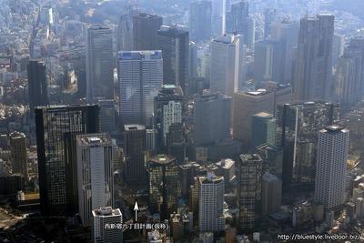 西新宿六丁目計画(仮称)の計画地の空撮
