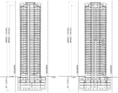 (仮称)渋谷区役所建替プロジェクト 住宅棟 断面図