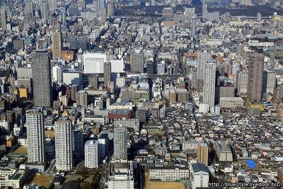 上本町方面の空撮