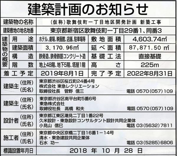 (仮称)歌舞伎町一丁目地区開発計画(新宿 TOKYU MILANO 再開発計画) 建築計画のお知らせ