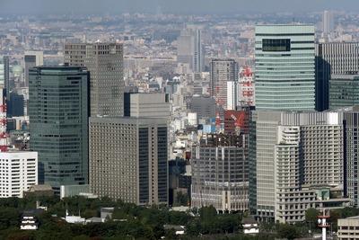 六本木ヒルズから見た大手町の超高層ビル群