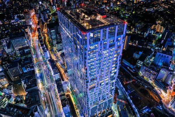 渋谷スカイから見下ろした渋谷ストリームの夜景