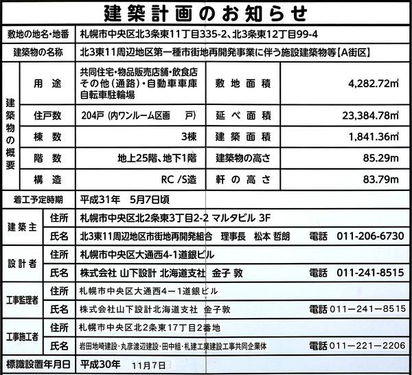 プレミストタワーズ札幌苗穂 アクアゲート 建築計画のお知らせ
