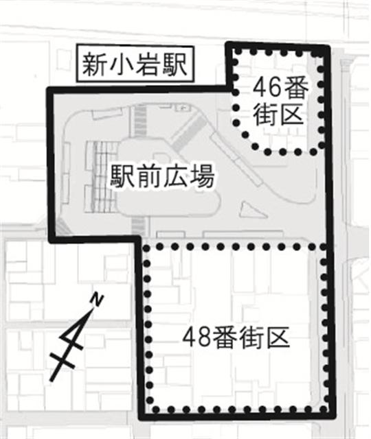 新小岩駅南口地区再開発 対象区域図