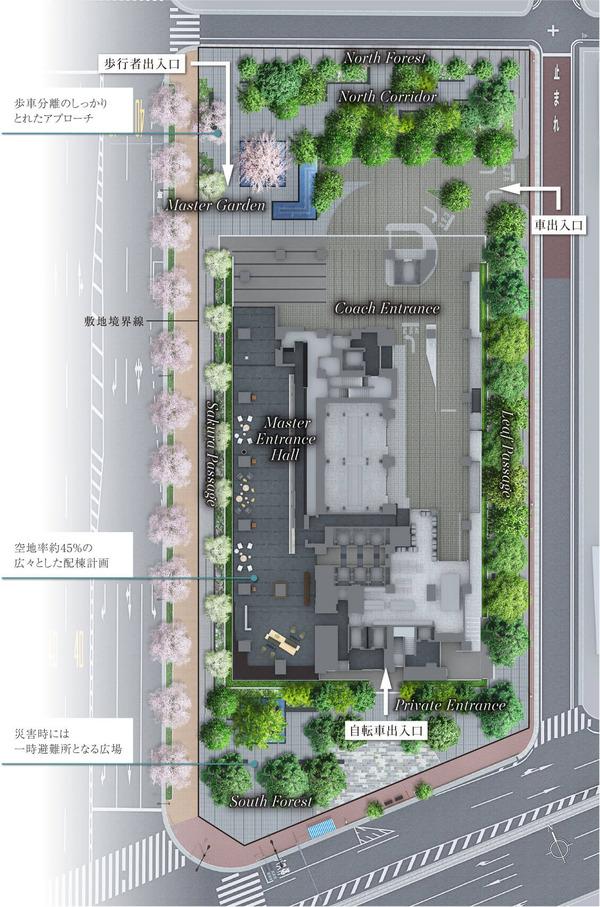 ブランズタワー芝浦 敷地配置完成予想CG