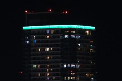 シティタワー神戸三宮のライトアップ「ティアラ190」