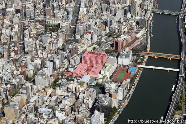 蔵前一丁目開発事業の計画地の空撮