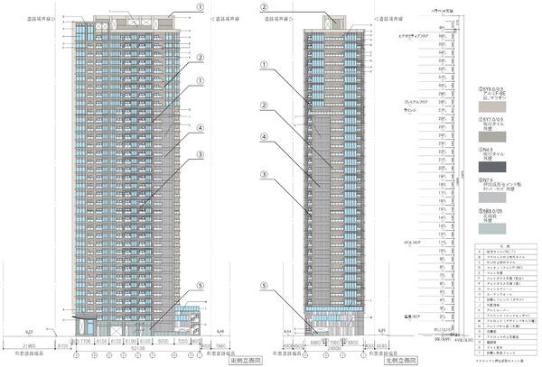 (仮称)新宿区四谷4丁目計画 立面図