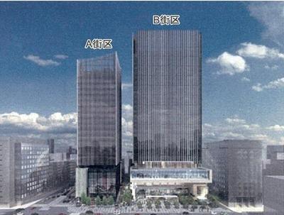 京橋一丁目東地区の完成予想図